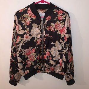 Women's Floral satin bomber jacket